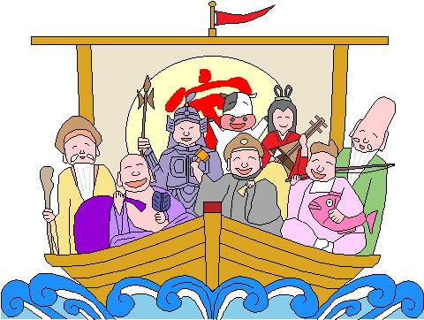 七福神と宝船にウシ